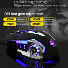 3200 DPI LED 6 Keys Mute Colorful USB Wired Gaming Mouse For PC Laptop RGB black