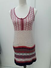 White Stuff Ladies Size 8 Pink Grey Blue Nordic Jumper Dress Knitwear Fashion