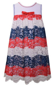 Bonnie Jean Big Girls 4th of July Patriotic Red White Blue Lace Dress 7 - 16 New