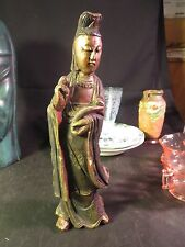"""10"""" Wood Carved Chinese Figurine Made in Taiwan"""