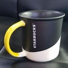NEW 2017 Starbucks Half Matt Black Coffee Cup mug 12 OZ Yellow Handle
