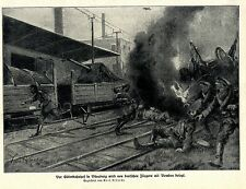 K.Albrecht Kriegsmaler * War Artist * 1.WK  Fliegerangriff auf Bahnhof Düneburg