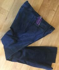 "Ralph Lauren Purple Label Eaton in Velluto a Coste Piatto PANTALONE BLU NOTTE 40"" RRP £ 300"