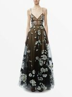 VALENTINO $18500 FLORAL APPLIQUÉ BLACK TULLE WEDDING GOWN IT 42