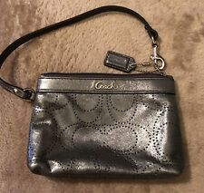 Coach Silver Gray Metallic Wristlet Excellent Pre-owned Condition