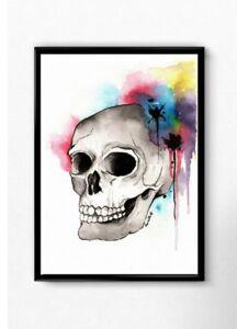 Skull Print - ink artwork abstract skull occult decor dark art skull painting