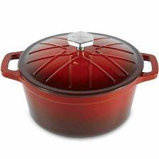 "Vonshef 11"" Enamel Coated Graduated Red Casserole Oven Pot 6.3Qt 5.9 Litre"