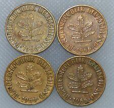 5 Pfennig 1966 D F G J Kompletter Satz