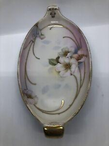 Prussia Royal Rudolstadt Pastel Floral Dresser Vanity Tray Porcelain Gold Trim
