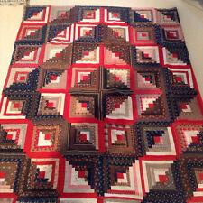 "Antique Vintage Patchwork Quilt ""Log Cabin Barn Raising"""