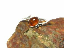 Cognac  AMBER  Sterling  Silver  925  Gemstone  RING  -  Size: Q  -  Gift Boxed!