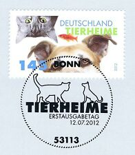 BRD 2012: Tierheime Nr. 2945 mit dem Bonner Ersttags-Sonderstempel! 1A erhalten!
