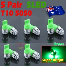 10x Green T10 LED 5 SMD 5050 194 168 Car Tail Side Light Lamp Number Plate Bulb