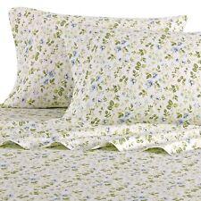 Laura Ashley Blue Blossoms Wildflower Cotton Sateen 4 PC KING 300 CT Sheet Set