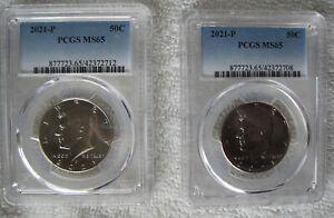 (2) 2021-P Kennedy Half Dollars PCGS MS65
