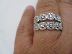 Vintage Solid 10K White Gold Diamond Two Rows FLOWER Ring SZ 6.75 Nice Design