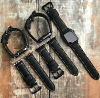 For Apple Watch Series 5 4 3 42/44mm Black BULL Leather Replacement Strap Band