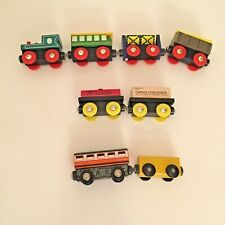 8 Wooden Magnetic Train Cars Oil Tanker Us Continental Freight Cargo Mixed Lot