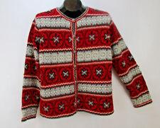 Talbots Womens Sz M Cardigan Sweater Silk Blend Nordic Knit Red/Grey Long Slv
