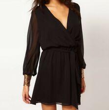 Asos Black chiffon sequin cuff wrap evening party dress size 8 New