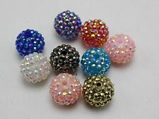 20 Pcs Mixed Colour Acrylic Rhinestone Pave DISCO Ball Beads 18mm Spacer Beads