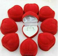 24Pcs Red Heart-shaped Velvet Ring Earring Jewelry Display Box Case Wholesale