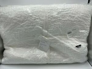 New Pottery Barn Belgian Flax Linen Floral Stitch Full/Queen Quilt ~White~