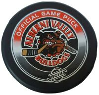 ALBERNI VALLEY BULLDOGS OFFICIAL GAME PUCK RARE BCHL LINDSAY MFG. MADE IN  🇨🇦