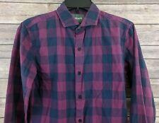 Bonobos Mens Slim Fit Check Purple Button Down Casual Shirt Size XS