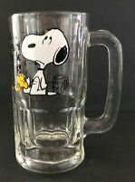 """Vintage 1965 Peanuts Snoopy and Woodstock Root Beer Glass Stein Mugs 5.75"""" Tall"""