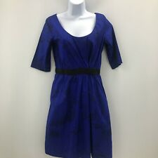 Cos Dress UK 8 EU 38 Women Cobalt Blue Bird Print Cotton Scoop Neck Belt 280206