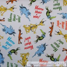 BonEful FABRIC Cotton Quilt White Blue Horton Hears Who Dr Suess Elephant SCRAP