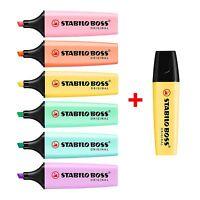 STABILO BOSS Original Pastel Highlighter Pens (PK of 6) + 1 FREE EXTRA YELLOW!