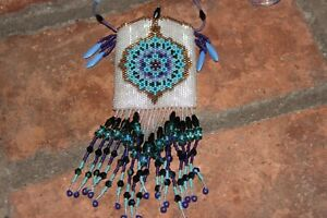 Stunning Glass Beaded Medicine Bag Pouch Necklace Turquoise Purple Colors