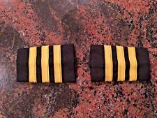 3 Bar Professional Airline Pilot Epaulets First Officer. Gold/black
