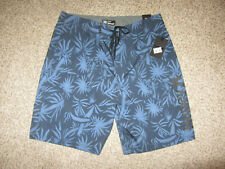 """NWT NEW Hurley Blue Flower Spray Palms BS Length 20"""" Board Shorts Swimsuit 33"""