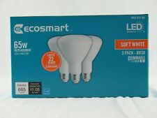 EcoSmart 65W Equivalent SOFTWHITE BR30 DIMMABLE LED Light Bulbs-3 BULB Box