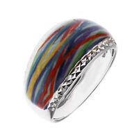 Damen Ring echt Silber 925 Sterling rhodiniert bunte Emaille Sterlingsilber