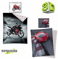 3D Effect Bedding Sets Car Motorbike Duvet Quilt Cover Single Size 100% COTTON ✅