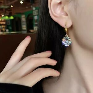 Beautiful Gold Circle Stud Dangle Earrings Made With Swarovski Crystals Gift