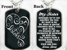 MY SISTER/SISTER'S Dog tag Necklace/Keychain + FREE ENGRAVING