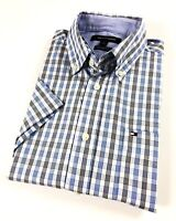 TOMMY HILFIGER Shirt Men's Short Sleeve Crisp Poplin Blue/ Black Stripe Checks