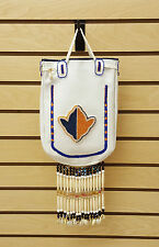 NICE LARGE HANDCRAFTED CUT BEADED WHITE LEATHER NATIVE AMERICAN INDIAN PURSE/BAG