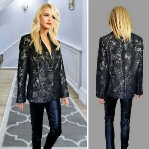 CHANGES BY TOGETHER JACKET SIZE 18 BLACK SILVER SHINY DETAILS BLAZER PARTY#20