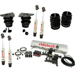 Complete Ridetech Level 1 Air Suspension Kit, fits 1963-72 Chevy C10,Compressor