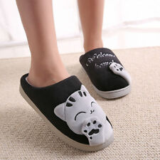 Women Slippers Home Shoes Warm Plush Indoor Soft Floor Cartoon Cat Couple Winter