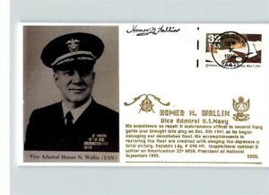 MASONIC, Vice Adm. Homer WALLIN, U.S. Navy, signed, thermograph ink, WWII Anniv.