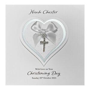 Handmade PERSONALISED Christening Card - Diamanté Cross Charm Heart Blue