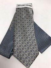 Stacy Adams Men's Tie Hanky Set Navy Cobalt Blue Ivory Multi Design Hand Made