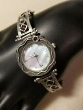 "Face 7"" Long Signed Tz Excellent Quality Sterling Silver Watch W/ Amethyst & Mop"
